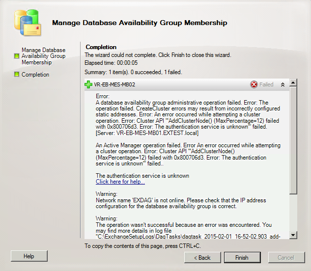 Exchange Server Troubleshooting: Fail to add member server to